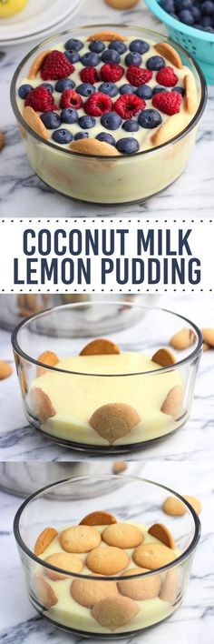 This coconut milk lemon pudding is creamy, tart, and just sweet enough. Vanilla wafers are layered throughout and it's topped with fresh fruit. This homemade pudding recipe is easy! #BiteSizedBitsofJoy [ad]
