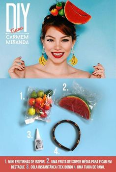 how to diy carmen miranda headscarf Carnaval Diy, Carmen Miranda Costume, Havanna Party, Diy Costumes, Halloween Costumes, Diy Tiara, Banana Costume, Havana Nights Party, Cuban Party
