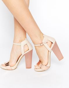 Image 1 of ALDO Cabello Leather Metallic Barely There Heeled Sandals
