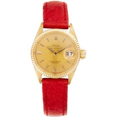 Rolex Women's Vintage Rolex 18K Yellow Gold Datejust Watch, 23mm -... ($2,900) ❤ liked on Polyvore featuring jewelry, watches, gold, vintage wrist watch, gold wrist watch, leather-strap watches, vintage gold watches and vintage gold jewelry