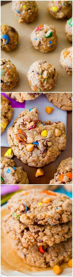 Loaded Oatmeal Cookies-- my go-to oatmeal cookie recipe that is AMAZING with peanut butter M&Ms and butterscotch!