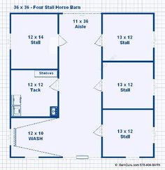 3 Stall Horse Barn Plan Barn Ideas Pinterest Horse