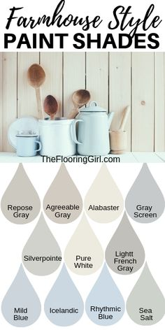 Farmhouse style paint shades from Sherwin Williams. These modern farmhouse styl. Farmhouse style paint shades from Sherwin Williams. These modern farmhouse style shades will transform you home into a cozy rustic look.