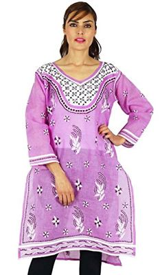 Indian Chikan Embroidered Women Ethnic Kurti Cotton Casual Dress * Click image to review more details-affiliate link.