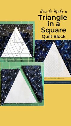 Learn the Perfect Way to Make a Triangle in a Square Block using the V Block Tool by Studio Try this quilt tutorial and see if you don't agree. Quilting Rulers, Quilting Tools, Quilting Tutorials, Quilting Projects, Quilting Designs, Triangle Quilt Tutorials, Triangle Quilt Pattern, Quilt Block Patterns, Pattern Blocks