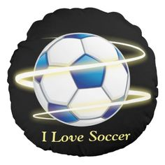 I Love Soccer With Monogram Round Pillow