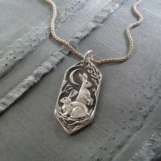 Listen to the Moon Personalized Fine Silver Rabbit Pendant