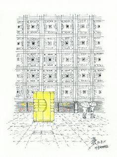 Arab World Institute designed by Jean Nouvel @ Paris, France, 20120511 / Sketch by Youngdong Jang