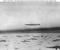 USS Shenandoah (ZR-1)    Moored at Naval Air Station North Island, San Diego, California, in October 1924.    U.S. Naval Historical Center Photograph