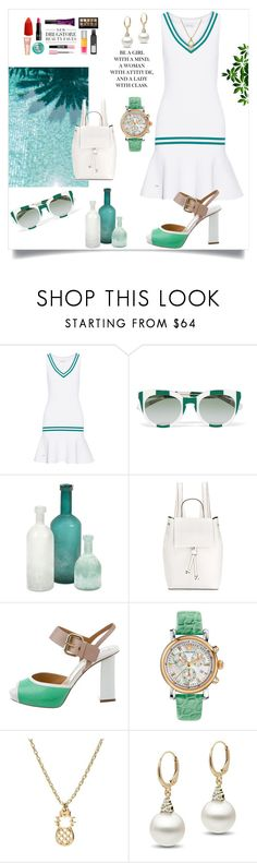 """""""White and Green"""" by freida-adams ❤ liked on Polyvore featuring L'Etoile Sport, Dolce&Gabbana, Home Decorators Collection, French Connection, Pollini, Versace, white, topsets, GREEN and topset"""
