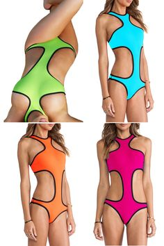 Love these! Neon Color Black Trim Sexy One Piece Style Swimsuit  Swimwear Fashion