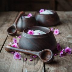 Turned from gorgeous claro walnut kitchen pinch pot and carved spoon. Wonderful for salt, rubs for the grill or that special mix for your
