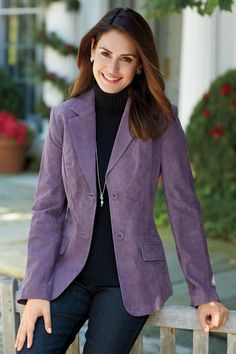 """Shop Chadwicks of Boston for our Genuine Suede Blazer. Browse our online catalog for more classic clothing, shoes & accessories to finish your look. Purple Cardigan Outfits, Purple Outfits, Blazer Outfits, Suede Blazer, Fashion Looks, Style Fashion, Fashion Ideas, Purple Blazers, Purple Suede"