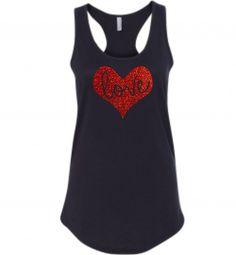 Women's Love Heart Valentine's Day Racerback Tank Top Shirt, Glitter, Holiday, Be  Mine #women #tanktop #shirt #valentinesday #bemine #love #heart #holiday