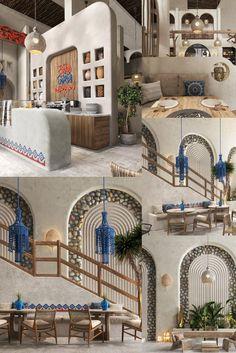 Coffee Shop Interior Design, Cafe Design, Interior Design Studio, Cafe Restaurant, Restaurant Design, Moroccan Colors, Home Nail Salon, Amazing Architecture, Bauhaus