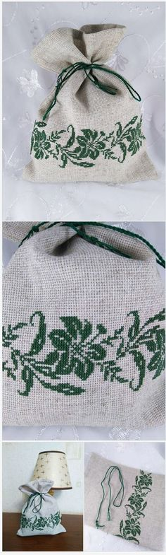 Rustic drawstring bag Flower embroidery stitches Canvas pouch drawstring Fabric packaging bag Cotton drawstring bag