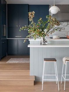 navy blue kitchen cabinets Home Decor Kitchen, Kitchen Design, Kitchen Ideas, Warm Kitchen, Kitchen Trends, Blue Kitchen Cabinets, Contemporary Kitchen Cabinets, Target Home Decor, Cheap Home Decor