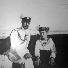 """Tsar Nicholas ll of Russia with the Tsarevich Alexei Nikolaevich Romanov of Russia in 1911/12.  """"AL"""""""