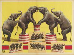 Vintage Elephant Circus Poster