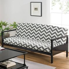 Product Image For Loft Ny Cotton Rich Futon Cover In Grey Chevron
