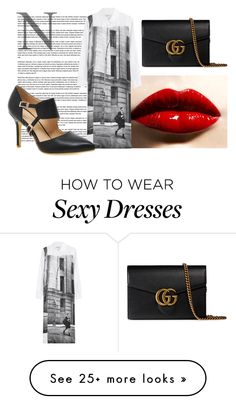 """N"" by volpeartica on Polyvore featuring DKNY and Gucci"