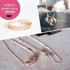 Set bijuterii placate cu aur roz - LOVE HER - MSM-Shop Washer Necklace, Love Her, Shopping, Jewelry, Jewlery, Jewerly, Schmuck, Jewels, Jewelery