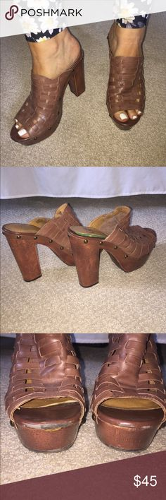 Gianni Bini Platform Clogs These adorable leather clogs will be perfect for the fall! They give you great height and are super fun! They have some scuffing on the front, as seen in the photos. No other damage or issues. If you have any questions, post in comments! Gianni Bini Shoes Mules & Clogs