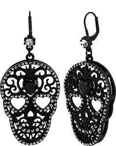BLACKOUT FILIGREE SKULL DROP EARRINGS BLACK