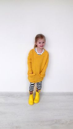 cc01c0ffdfc Knit Girls Sweater Dress Oversized Casual Long Yellow, Upcycled Clothing,  Girls Knitwear, Size 7