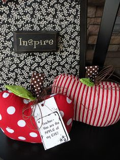 Teacher Appreciation: Cute magnetic board and sewn apple pin cushions or paper weights