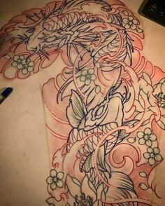 Japanese Tattoo Designs, Japanese Tattoo Art, Japanese Sleeve Tattoos, Full Arm Tattoos, Body Art Tattoos, Tattoo Studio, Koi Tattoo Sleeve, Koi Tattoo Design, Bokashi