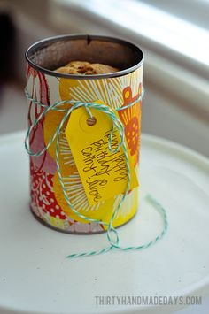 Bread in a can decorated with scrapbook paper @30daysblog