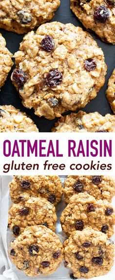 Classic Gluten Free Oatmeal Raisin Cookies Recipe (V, GF): a foolproof, easy recipe for the best gluten free oatmeal raisin cookies: chewy, moist centers with crispy edges, bursting with oats & raisins! Gluten Free Vegan Oatmeal Raisin Cookies never Gluten Free Oatmeal Raisin Cookies Recipe, Cookies Sans Gluten, Vegan Oatmeal Cookies, Dessert Sans Gluten, Bon Dessert, Healthy Cookies, Dessert Recipes, Cookies With Oats, Dairy Free Oatmeal Raisin Cookies