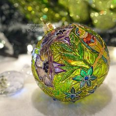 """hand painted christmas glass ornament """"Entchanted Garden-2"""""""