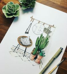 petits pots illustrationTrois petits pots illustration ― 🌿Alex&Eva🌿さん( 「Stylish home offices. 🌿 more: Стильные рабочие пространства.」 Loft poster, made to order Lovely illustration by Super plants sketch inter. Interior Architecture Drawing, Interior Design Renderings, Drawing Interior, Interior Sketch, Classical Architecture, Watercolor Cactus, Watercolor Paintings, Simple Watercolor, Tattoo Watercolor