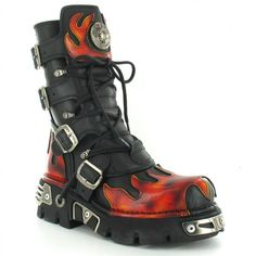 New Rock Metallic M591-S1Reactor Unisex Leather Mid-Calf Boots in... ($300) via Polyvore