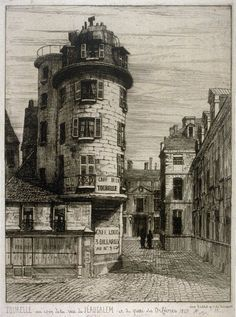 Martial-Potémont -Tourelle at the corner of Jerusalem and the dock Goldsmiths, (in) 1849. Potémont used to picture parisian streets and monuments Before Their planned demolition. Here (on the Ile de la Cité, near Notre-Dame) the long-forgotten street in Jerusalem is seen from the bank of Seine river