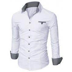 Mens Shirt Casual Pocket Dress Shirts (D063)