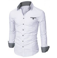 Mens Shirt Casual Pocket Dress Shirts (D063)