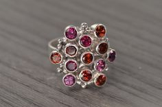 Miro Ring garnet and rhodolite cocktail ring by EdwardOwl on Etsy, $268.00