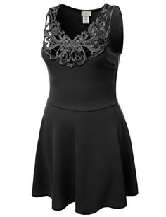 JTOMSON PLUS Womens Sleeveless Circle Skirt Dress w Crochet Detail Plus Size BLACK XLARGE >>> Read more reviews of the product by visiting the link on the image.