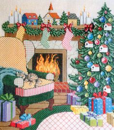 Ready for Santa - Stitch Painted Needlepoint Canvas from Sandra Gilmore