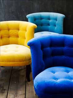 The Velvet Chair Company.  The would add a fantastic splash of colour to any room.  The come in a single, a love tub and they also do a matching ottoman and with the chairs starting at £385 they are a complete steal!