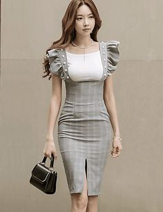 Women's Party Going out Casual/Daily Sexy Simple Bodycon Dress,Striped Color Block Round Neck Knee-length Above Knee Sleeveless Cotton 6187323 2017 – African Fashion Dresses, Hijab Fashion, Korean Fashion, Fashion Outfits, Womens Fashion, Fashion Trends, Cute Dresses, Casual Dresses, Classy Outfits