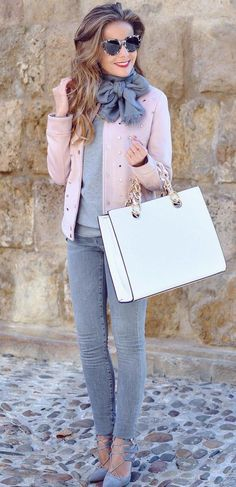 #winter #fashion / Pink Jacket + Grey Knit