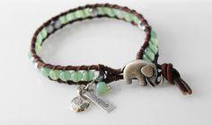 Elephant wrap bracelet - mint green and silver leather bracelet - lucky jewelry - bohemian leather wrap