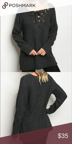 🎀NEW ARRIVAL🎀 This cozy long sleeve chunky knit sweater features a trendy lace up v-neck that allows you to wear this on or off the shoulder. A must have for the Winter season. Acrylic, polyester, nylon blend. Model is wearing actual item in a size small. True to size.   Bundle & save!  Buy with confidence: ✔Poshmark Ambassador ✔Top rated seller ✔Top 10% seller ✔Fast shipper Sweaters