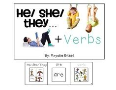 He/ She/ They + Verbs adapted book.  Fun/ Interactive way to develop syntax and verbs.  Autism/ Speech. Repinned by SOS Inc. Resources pinterest.com/sostherapy/.