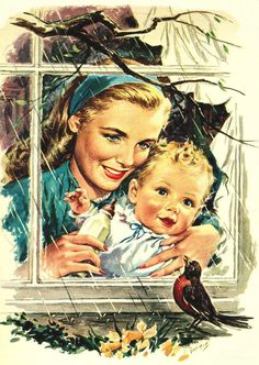 Counting down until spring… detail from 1946 A&P. - Roger Wilkerson, The Suburban Legend! Vintage Pictures, Vintage Images, Art Pictures, Photos, Family Illustration, Illustration Art, Vintage Prints, Vintage Posters, Vintage Housewife