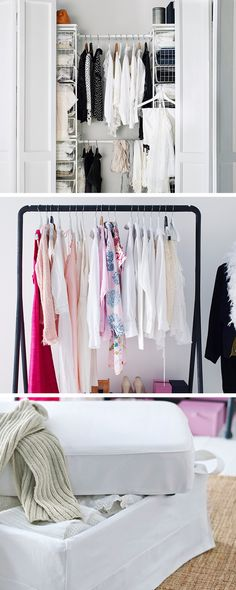 With a few smart solutions, we were able to optimise this bedroom's storage possibilities. Like this narrow closet space – it fits a surprising amount with a little help from our flexible ALGOT clothes storage system. By hanging your favourite blouses on a clothes rack, you'll get both clothes storage and decoration in one. And extra linens can be tucked away in a foot stool with storage inside.